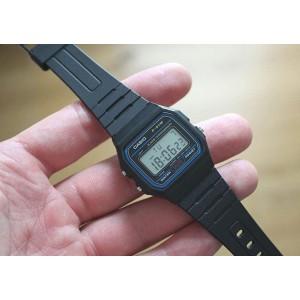 (100% Original) Casio F-91W-1DG VINTAGE SERIES Digital Black Resin Watch F91W F91W-1DG