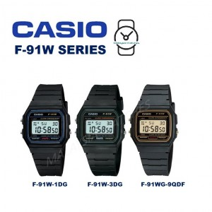 Casio Men's F-91W-1DG VINTAGE SERIES Digital Black & Blue Resin Watch (Free Shipping)