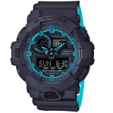 (OFFICIAL MALAYSIA WARRANTY) Casio G-SHOCK GA-700SE-1A2 SPECIAL COLOUR MODEL Analog-Digital Men's Resin Watch (Black & Blue)