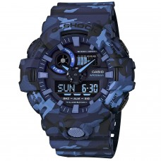 (OFFICIAL MALAYSIA WARRANTY) Casio G-SHOCK GA-700CM-2A SPECIAL COLOUR Camouflage Series Men's Resin Watch (Blue)
