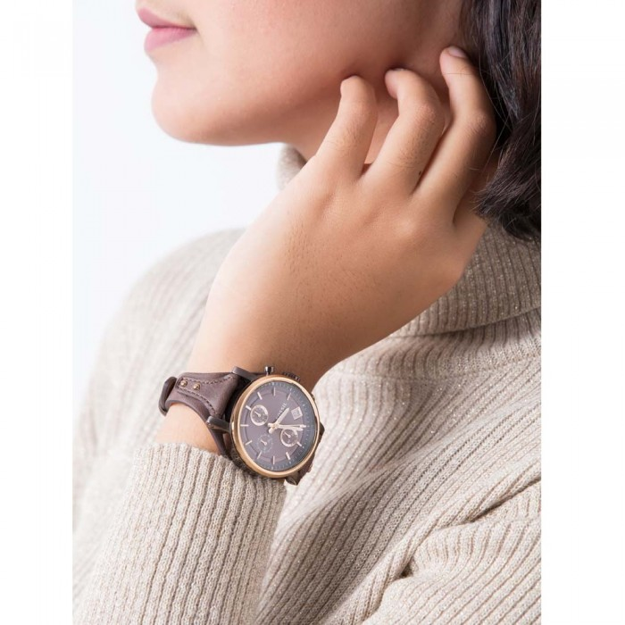 0b4e1478e4b Fossil Women s ES4286 Original Boyfriend Chronograph Brown Leather Watch ( Brown   Rose Gold)
