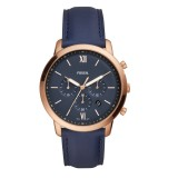Fossil Men's FS5454 Neutra Chronograph Navy Leather Watch (Navy Blue)