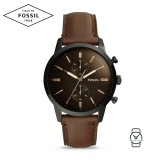 Fossil Men's FS5437 Townsman 44mm Chronograph Brown Leather Watch (Brown)