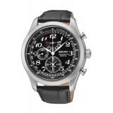 Seiko Men's Black Leather Strap Watch SPC133P1
