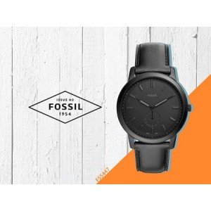 Fossil Men's FS5447 The Minimalist Two-Hand Leather Watch  (Black)