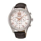 Seiko Men's Gents Chronograph Black Leather Strap Watch SPC087P1