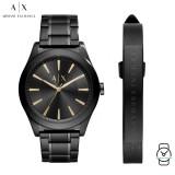 (100% Original) Armani Exchange Men's AX7102 Active Black Dial Men's Gift Set