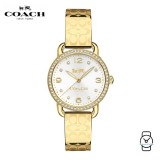 (100% ORIGINAL) Coach Ladies' 14502766 Delancey Silver Dial Gold-tone Bangle Stainless Steel Watch (Gold)