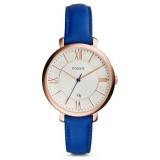 Fossil Jacqueline Women's Blue Leather Strap Watch ES3795