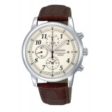 Seiko Men's Gents Chronograph Brown Leather Strap Watch SNDC31P1