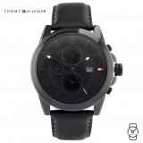 (100% Original) Tommy Hilfiger Men's 1710295 Bayside Chronograph Black Leather Watch (Black)