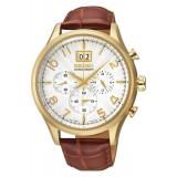 Seiko Men's Gents Chronograph Brown Leather Strap Watch SPC088P1