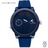 (100% Original) Tommy Hilfiger Men's 1791325 Blue Dial Silicon Watch (Blue)