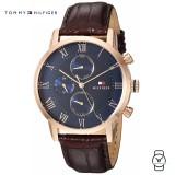 (100% Original) Tommy Hilfiger Men's 1791399 Kane Chronograph Brown Leather Watch (Brown)