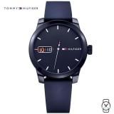 (100% Original) Tommy Hilfiger Men's 1791381 Blue Dial Silicon Watch (Blue)