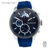 (100% Original) Tommy Hilfiger Men's 1791350 Blue Silicon Watch (Blue)