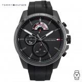 (100% Original) Tommy Hilfiger Men's 1791352 Blue Silicon Watch (Black)