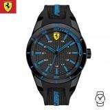 (100% Original) Scuderia Ferrari Men's 0830247 Redrev Watch (Black & Blue)
