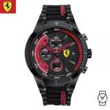 (100% Original) Scuderia Ferrari Men's 0830260 Redrev Evo Chronograph Watch (Black & Red)
