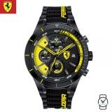 (100% Original) Scuderia Ferrari Men's 0830261 Redrev Evo Chronograph Watch (Black & Yellow)