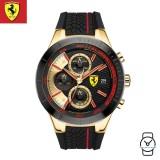 (100% Original) Scuderia Ferrari Men's 0830298 Chronograph Watch (Black & Gold)