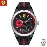 (100% Original) Scuderia Ferrari Men's 0830254 Redrev T Watch (Black & Red)