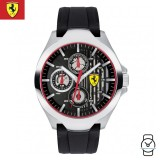 (100% Original) Scuderia Ferrari Men's 0830510 Aero Watch (Black & Silver)