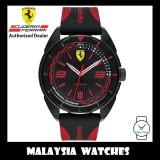 (100% Original) Scuderia Ferrari Men's 0830515 Quartz Analog Forza Black & Red Silicone Watch (2 Years International Warranty)
