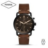 Fossil Men's FS5403 The Commuter Chronograph Brown Leather Watch (Brown)