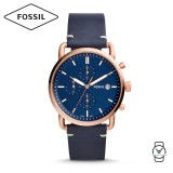 Fossil Men's FS5404 The Commuter Chronograph Navy Leather Watch (Navy)