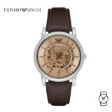 (100% Original) Emporio Armani Men's AR1982 Luigi Automatic Leather Watch (Dark Brown)