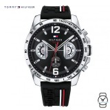 (100% Original) Tommy Hilfiger Men's 1791473 Decker Silicon Watch (Black)
