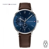 (100% Original) Tommy Hilfiger Men's 1791508 Blue Dial Brown Leather Watch (Brown)