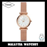 (OFFICIAL WARRANTY) Fossil Women ES4433 Carlie Mini Three-Hand Stainless Steel Mesh Watch (Rose Gold)