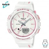 (OFFICIAL MALAYSIA WARRANTY) Casio Baby-G BGS-100RT-7A STEP TRACKER Resin Women's Watch (White & Pink)