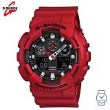 (OFFICIAL MALAYSIA WARRANTY) Casio G-SHOCK GA-100B-4A Standard Analogue-Digital Men's Resin Watch (Red)