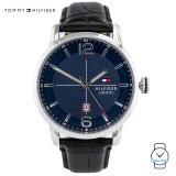 (100% Original) Tommy Hilfiger George Men's 1791216 Leather Watch (Black)