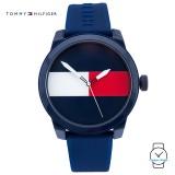 (100% Original) Tommy Hilfiger Flag Sport Men's 1791322 Silicon Watch (Blue)