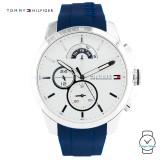 (100% Original) Tommy Hilfiger Men's 1791349 Silicon Watch (Blue)