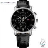 (100% Original) Tommy Hilfiger Kane Men's 1791401 Leather Watch (Black)