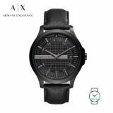 (100% Original) Armani Exchange Men's AX2400 Hampton Leather Watch (Black)