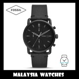 (OFFICIAL WARRANTY) Fossil Men's FS5504 Commuter Chronograph Leather Watch (Black)