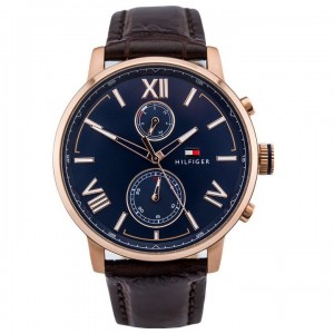(100% Original) Tommy Hilfiger Alden Men's 1791308 Leather Watch (Brown)