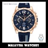 (100% Original) Tommy Hilfiger Decker Men's 1791474 Silicon Watch (Navy Blue)