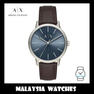 (100% Original) Armani Exchange Men's AX2704 Cayde Blue Dial Leather Watch (Brown)
