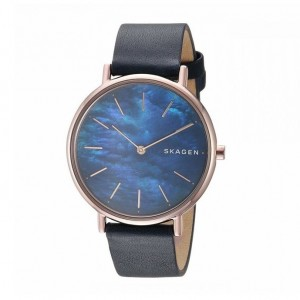 (100% Original) Skagen Ladies SKW2731 Signature Slim Leather Watch (Blue)
