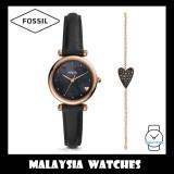 Fossil Women ES4506SET Carlie Mini Three-Hand Black Leather Watch and Bracelet Box Set