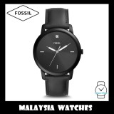 (OFFICIAL WARRANTY) Fossil Men's FS5478 The Minimalist Carbon Series Three-Hand Black Leather Watch