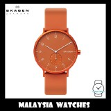 (100% Original) Skagen Unisex SKW6511 Aaren Kulør Orange Silicone Watch (Orange)