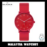 (100% Original) Skagen Unisex SKW6512 Aaren Kulør Red Silicone Watch (Red)
